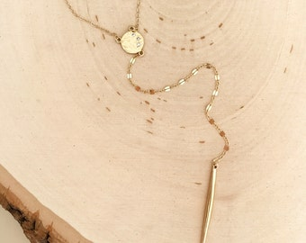 Gold Spike lariat Y  necklace w/ CZ diamond look connector. Long. Later. Boho chic. Minimalist. 14k goldfill high quakity. Gi