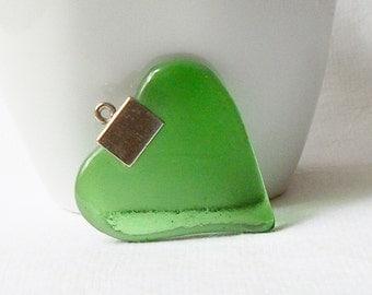 Vintage Green Glass Heart Pendant, Green Heart Pendant