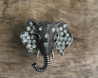 Little Elephant Drawer knobs - cabinet knobs - furniture knobs with Crystals (MK105)