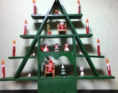 Vintage Wooden Christmas Tree Curio - With Wood ornaments Germany