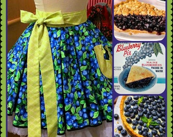 Juicy Blueberry handmade woman's cute half pleated apron