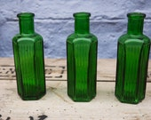 Set of 3 super cute miniature  vintage green glass apothecary bottles