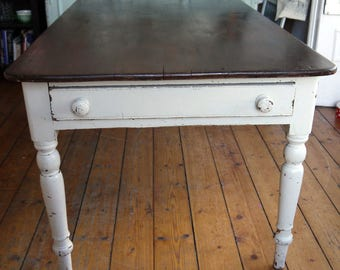 Vintage painted traditional farmhouse kitchen dining table with chippy grey painted turned legs