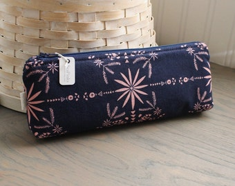 Navy Blue Pencil Case Floral Pencil Pouch Blue Purse Organizer