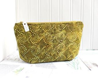 Green Batik Cosmetic Bag Makeup Bag Olive Green Zipper Pouch Organizer Modern Print