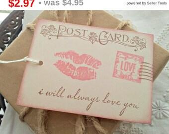 SALE Romantic Love Postcard Tags Wedding Set of 6