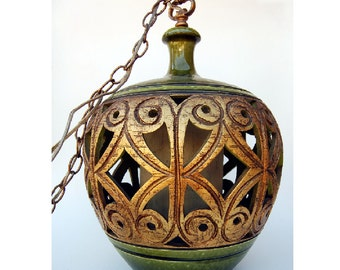 Large 1970s Ceramic Pendent  Swag Lamp Green Gold
