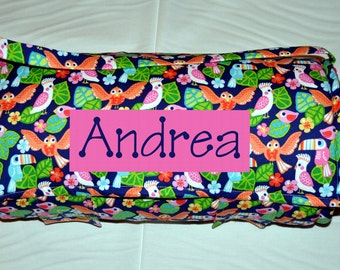 Nap Mat - Monogrammed Birds of Paradise Nap Mat with a Hot Pink Minky Dot Blanket
