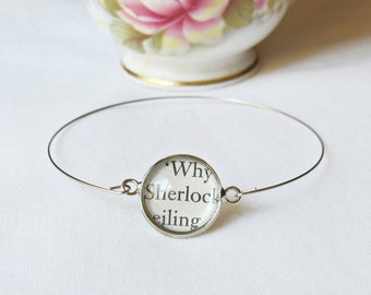 Sherlock Holmes Stacking Bangle Bracelet Sir Arthur Conan Doyle. Vintage Silver Text Name. Literature Jewelry Two Cheeky Monkeys Handmade