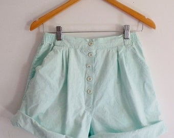 Shorts Vintage Womens Pastel Mint High Waisted