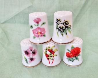 Vintage Australian Souvenir Floral Thimbles, Set of 5 Porcelain Thimbles Featuring Australia Flowers, Tasmania, Queensland, New South Wales