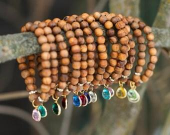 Birthstone Jewelry/ Wood Stacking Bracelets/ Meaningful Jewelry/ Yoga Jewelry/ Boho Layering Bracelets/ Olive Wood/ Inspirational Gift
