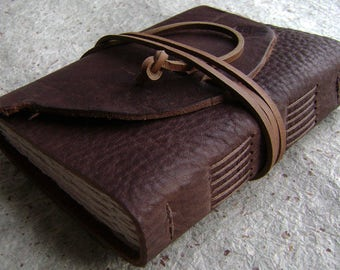 """Leather journal, 288 pages, 4"""" x 6"""", rugged brown journal, old world journal, travel journal, leather sketchbook,  (2444)"""