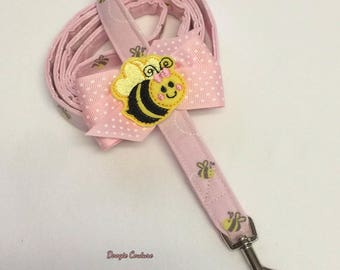 Bee Happy Dog Leash With Bow 5' by Doogie Couture Pet Boutique