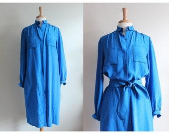 Vintage 1970s Blue Silk Shirt Dress