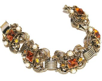 Amber Glass and Pearl Vintage 1950s Bracelet