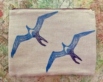 ʻIwa (Frigate) Bird Block Prints on a Cute Canvas Clutch!