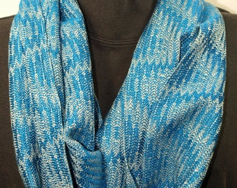 Handwoven Tencel Network Twill Cowl in Silvery Green and Bright Blue