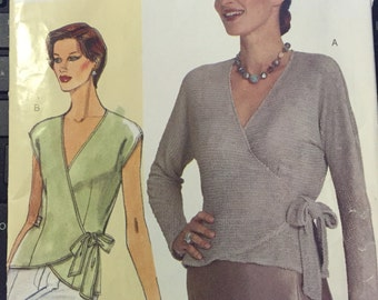 Vogue V302 misses Blouse top size D.E.F, bust 38, 40 1/2, 43 semi fitted blouse top wrap top, sewing pattern UNCUT unused