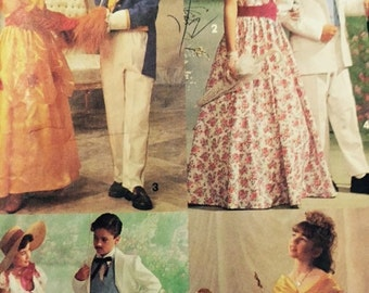 Simplicity 7978 COSTUME PATTERN 7 to 14 boys girls Old South Fairy Tale Southern Belle & Gentleman Costume bodice pants shawl jacket Dress