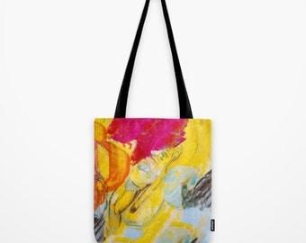 Tote Bag Art, poly poplin fabric, tote bag girl, anagonzalezart