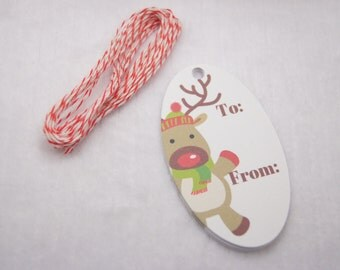 Christmas Tags Reindeer Red Nose Oval Holiday Tags Gift Tags Set of 10 - T561