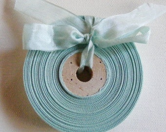 Vintage French 1930's-40's Woven Ribbon -Milliners Stock- 5/8 inch Seafoam