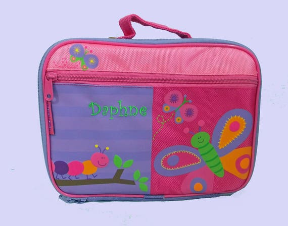 Stephen Joseph Child's Personalized BUTTERFLY Themed Lunch Box-Monogramming Included in the Price-Pink & Purple