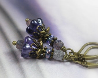 Czech Glass Flower Earrings, Purple Dangle Earrings, Antique Brass Jewelry, Womens Accessories, Gifts for Her, Feminine Jewellery, Gardeners