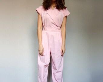 Pink Jumpsuit Women Vintage Pastel Jumpsuit 80s Jumpsuit Pockets Short Sleeve Jumpsuit - Small S
