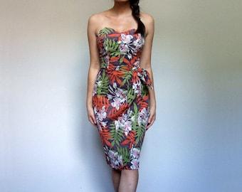 60s Strapless Dress Vintage Pinup Tropical Dress Sweetheart Dress Wiggle Dress Tiki Hawaiian Dress 1960s Wrap Dress - Extra Small XXS XS