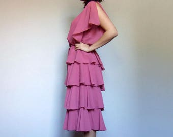 Vintage Pink Dress Women Ruffle Dress Sheer Layered Dress 70s Party Dress - Medium M