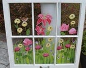 Custom Order for Julia/ Hand Painted Window with Tulips