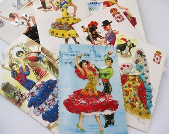Vintage Spanish Post Cards, Silk Embroidered