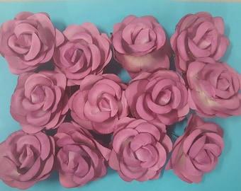 12 piece lavander artificial paper flower 2 1/2 inch