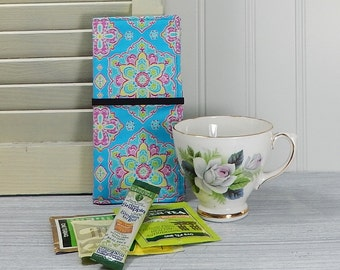 "Long Tea Wallet, tea caddie, holds ice tea and lemonade packets up to 6"", large tea wallet"