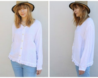 80s vintage boxy white linen blouse ruffled