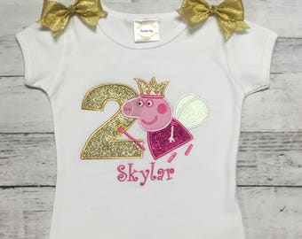 PEPPA PIG PERSONALIZED Hot Pink & Gold Shirt Or Onesie 1st 2nd 3rd 4th 5th 6th 7th 8th Birthday