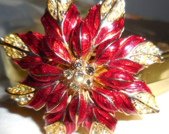 Xmas In July Poinsettia Brooch If you Like Rhinestones on Your Pointsettias  This is It