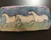 """reserved for wendy k Horse Barrette: Three Grey Horses Original Ink Drawing on Polymer Clay. 3"""" Barrette. Blue, Lavender, Grey, Green  4287"""