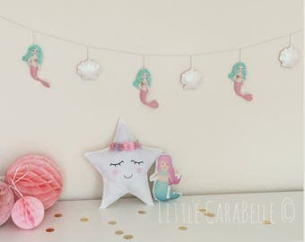 Mermaid and sea shell garland, handmade. Pastel green and pink mermaids with glittery hair & irridescent shells. Banner, nursery decoration