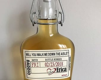 Liquor Flask Labels - Father of the Bride - Walk Me Down the Aisle Label -  Liquor Bottle Labels - Front Label - 1 label
