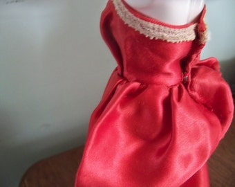 vintage red silk evening gown  for barbie dolls and other dolls