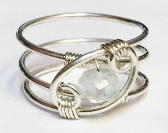 Aquamarine Ring   Aquamarine Gemstone   March Birthstone   March Birthday   Sterling Silver Ring