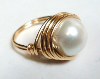 Swarovski Pearl Ring   White Pearl Ring 10mm   14K Gold Filled Pearl Ring   Wire Wrapped Ring  June Birthstone Ring