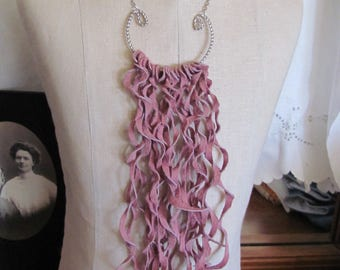 Beautiful Pink Soft Suede Leather Curly Fringe Necklace (#12) Many to choose from!!