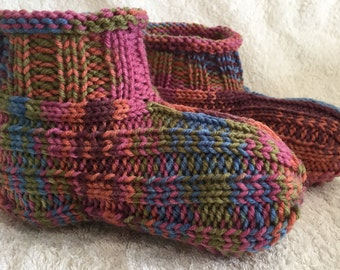 Hand Knit Slippers - Women's 8-9 - FREE Shipping