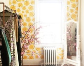 Yellow Rose Wallpaper / Removable / Perfect for renters and owners / Assorted Lengths Available
