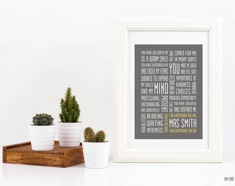 Elementary School Teacher Customizable Appreciation Typography Print 5x7 Educator Primary School Grade School Gift Word Art Subway Art