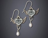 DJ Freshie - Eye in Wing Earrings  with Pearl - Collaboration Jewelry of Jenny Mendes and Dawn Estrin